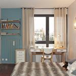 Chambre enfant avec murs bleus ciel et blancs