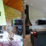 Salons modernes avec coin cheminée
