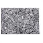 Tapis d'extérieur noir imprimé feuilles blanches 180x270