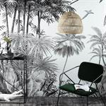 Papier peint intissé imprimé jungle noir et blanc 300x350