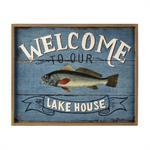 Déco murale en bois bleue 44 x 54 cm LAKE HOUSE