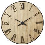 Horloge en sapin chiffres métal en relief D150