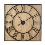 Horloge carrée en sapin et métal à rivets 110x110