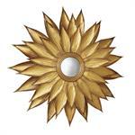 Miroir rond convexe feuilles de métal doré D86