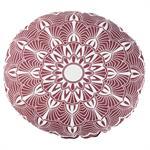 Coussin d'extérieur rond en coton rose et écru imprimé D40