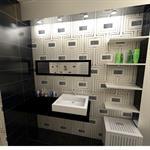Salle de bain noir blanc argent