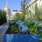 Jardinières bleues sur la terrasse