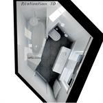 Plan 3D de la salle de bain réalisé par les bains