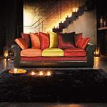 Canapé 3 places en croûte de cuir et velours multicolore Marco Polo